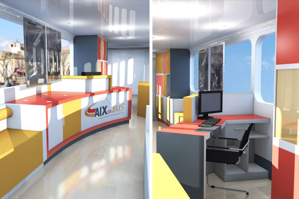 Agencement agence commerciale de bus architecte d for Agencement d interieur