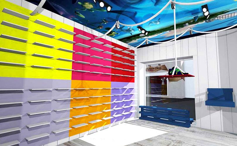 vue 3D couleur magasin vêtement