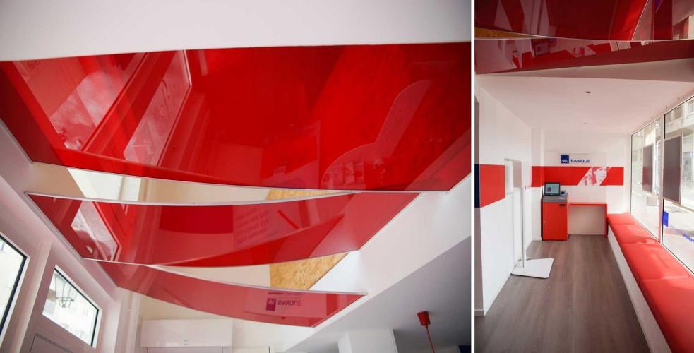 Plafond rouge et blanc décoré par CT CREATION à toulon