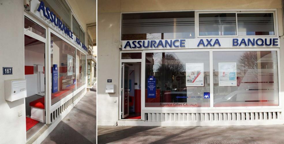 Devanture agence AXA toulon agencée par notre architecte d'intérieur toulonnais