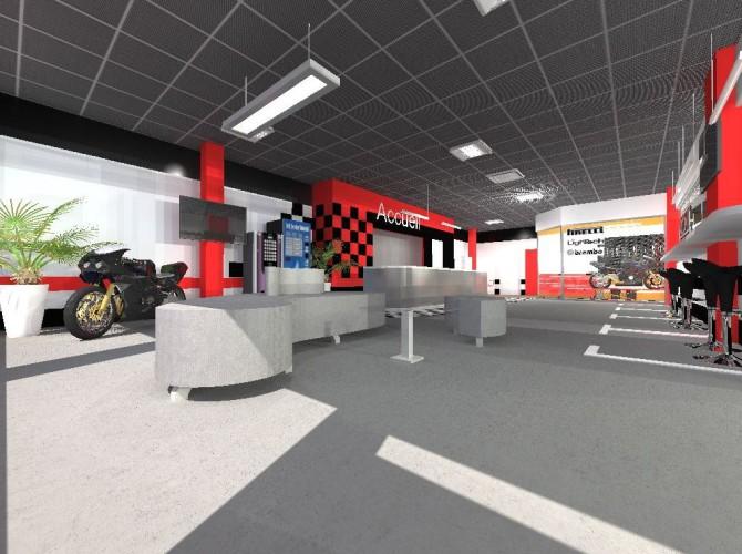Agencement 3D architecture commerciale garage moto à nice