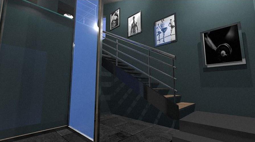 Décoration d'intérieur salle de sport st tropez, plan 3D architecte