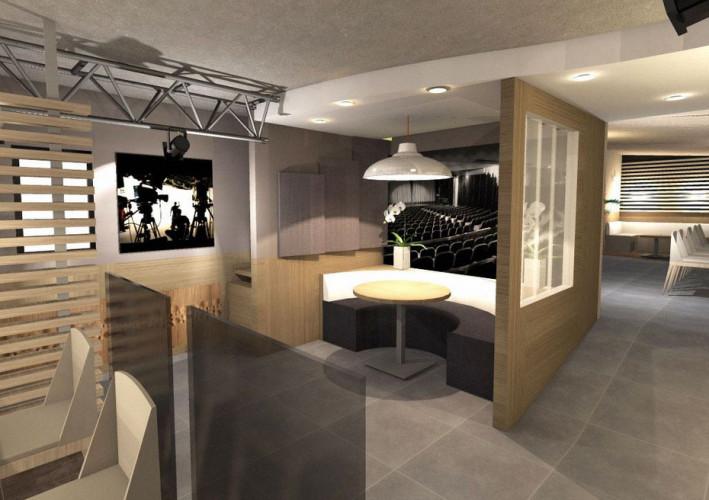 Vue 3D intérieur d'un restaurant rénové à St Tropez