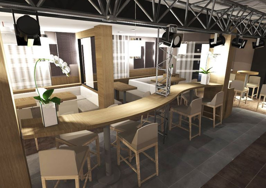 Cr ation de restaurant contemporain et agencement st tropez for Amenagement restaurant interieur