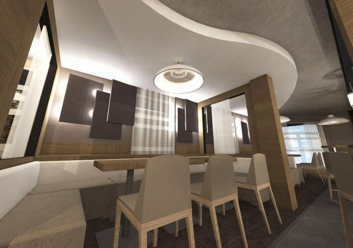 Vue 3D table et chaises beige dans un restaurant à St Tropez