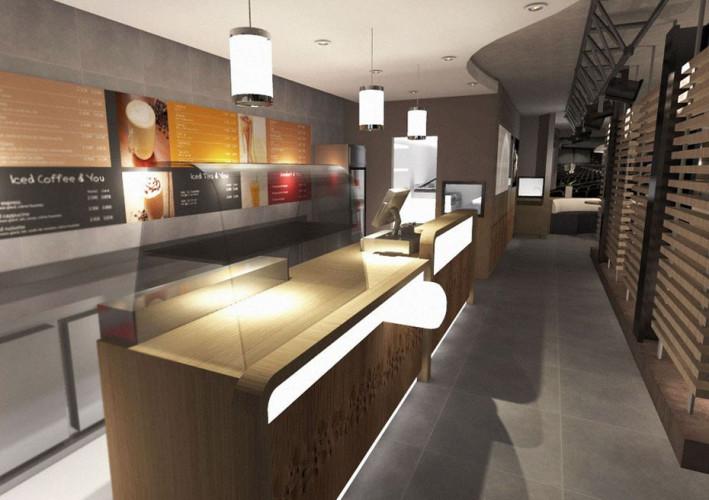 Modélisation 3D d'architecte d'intérieur, design d'un comptoir de restaurant