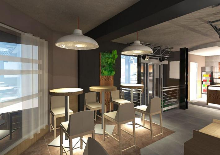 Vue 3D design de mobilier, table haute et chaises haute beige dans un restaurant