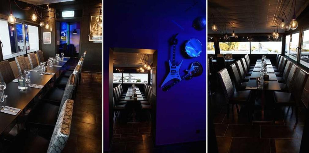 Décoration intérieure ambiance bleu restaurant rock and roll à toulon