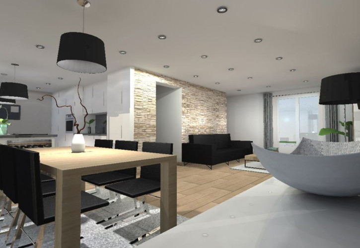 D coration par un architecte d 39 int rieur d 39 une villa sanary for Interieur noir et blanc