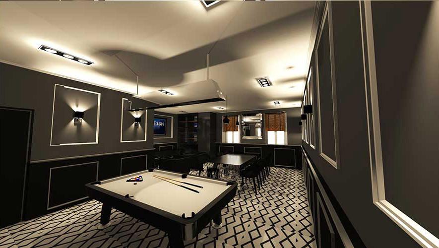 design d'intérieur salon billard dans restaurant Roquebrune