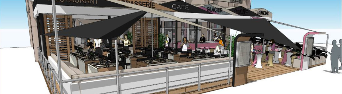 Agencement brasserie restaurant frejus for Restaurant exterieur