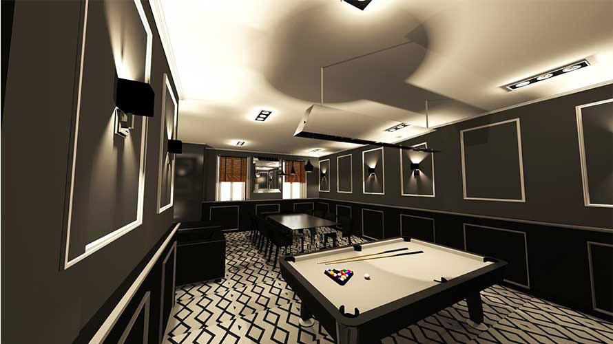salle de billard 3D dans restaurant var