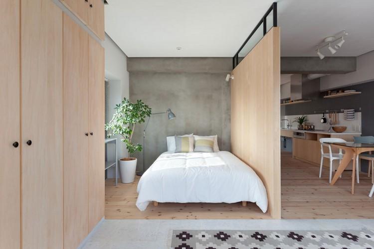 Mini chambre ouverte sur le salon style japonais