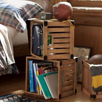 caisses en bois pour rangement chambre