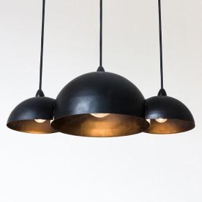 Lampe suspension design noire en 3 lampes intérieur or