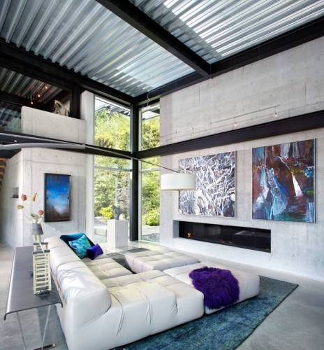décoration design style industriel plafond tôle murs béton