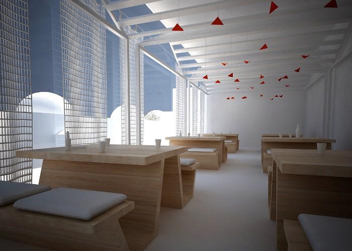 Design d'intérieur bois blanc pour un café tunisien