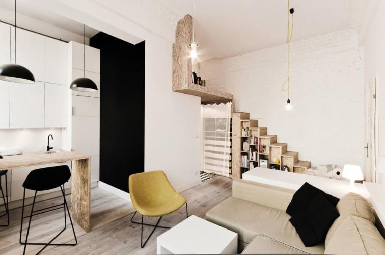design d'intérieur d'un petit espace avec mezannine