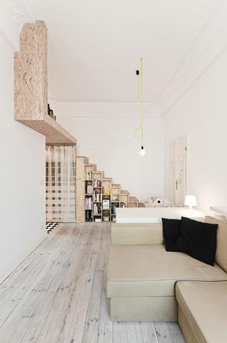 design d'intérieur d'un appartement minuscule ave mezannine