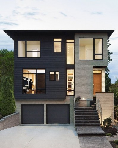 Villa contemporaine, travail d'un architecte de qualité, couleur des murs noirs et gris
