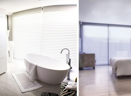 Magnifique salle de bain intégrée dans une chambre avec une déco intérieure magnifique