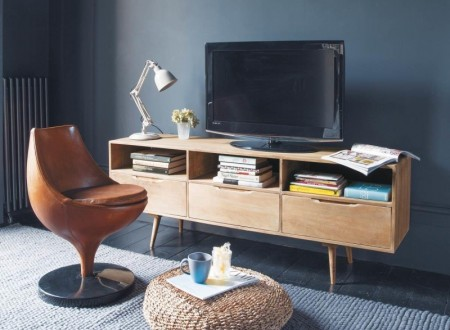 meuble tv teck clair