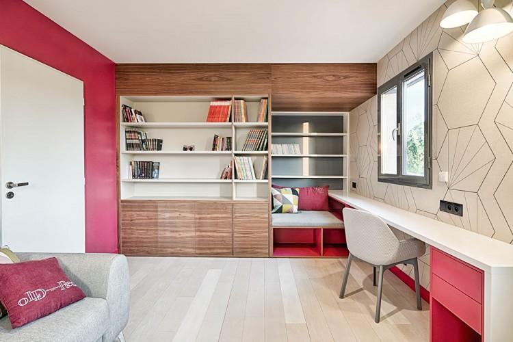 Chambre avec armoire sur mesure style scandinave