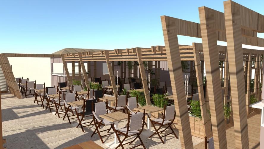 Vue 3D bar de plage et restaurant par Carl Tran