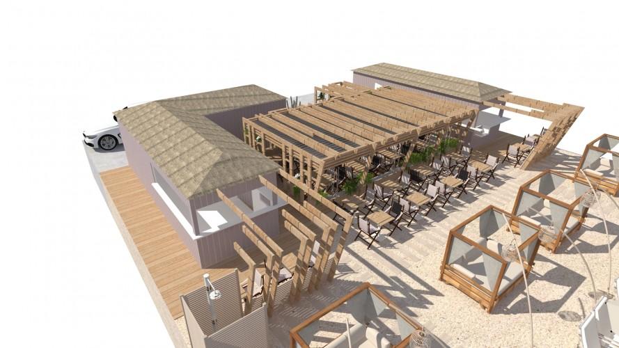 Vue 3D bar de plage au Lavandou dans le Var