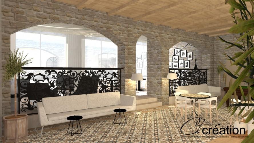 salle de réception hôtel en 3D par notre architecte d'intérieur à Bandol