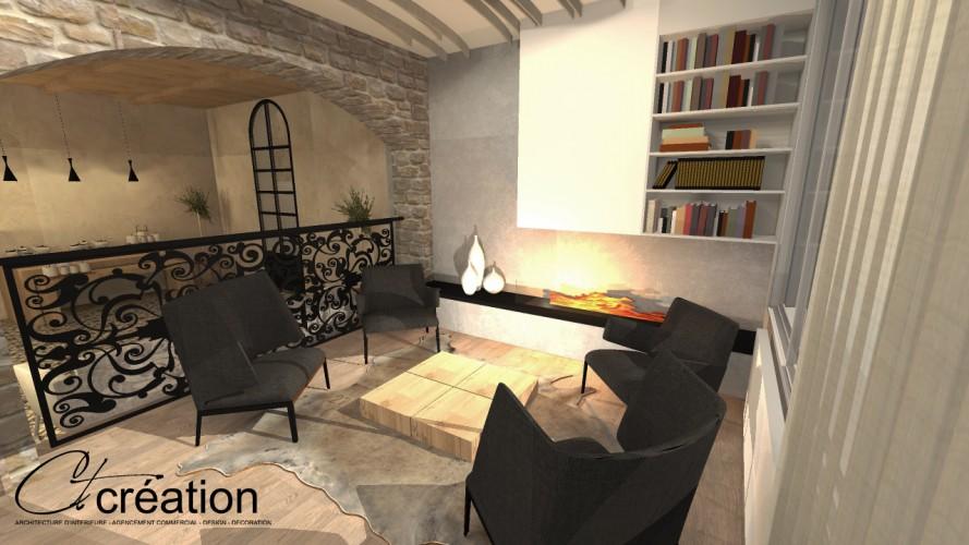 salle de détente pour clients hôtel avec billard à Bandol