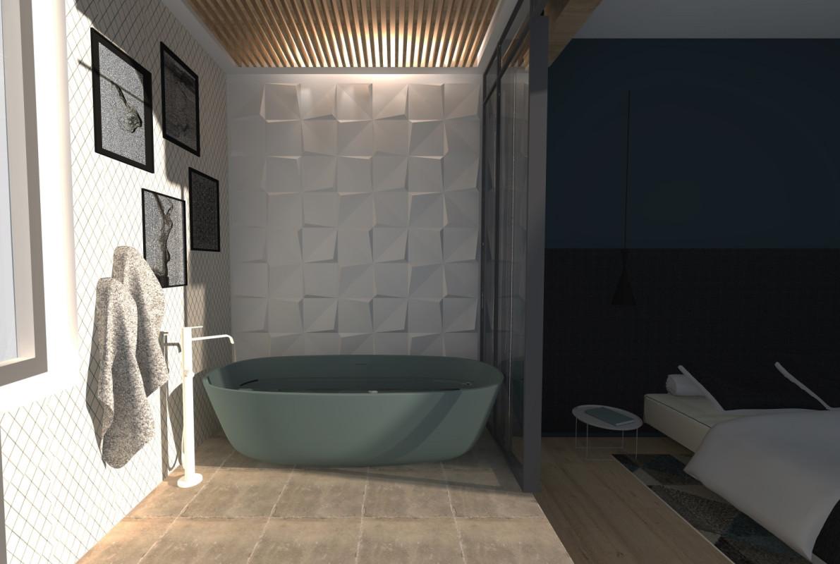 Photos une salle de bain de suite parentale au design glamour - Salle de bain architecte d interieur ...