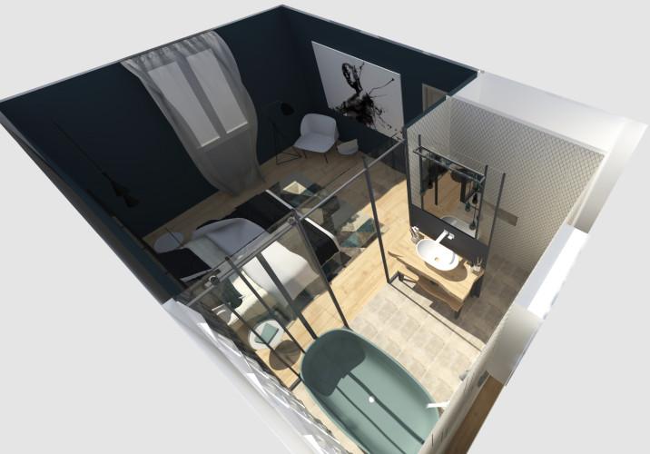 Vue 3D chambre et salle de bain