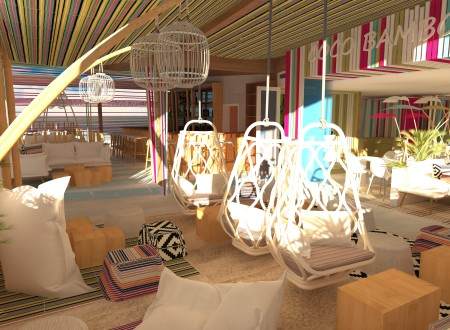 vue 3D agencement et décoration d'un ROOF TOP à CAYENNE