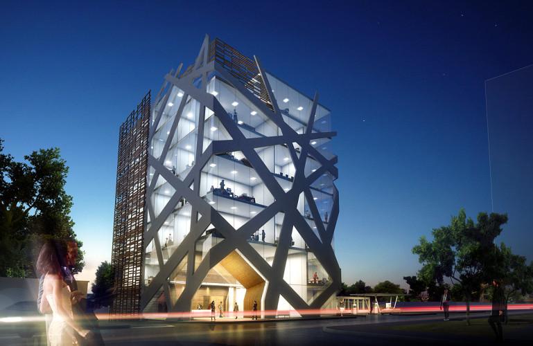 immeuble magnifique en verre