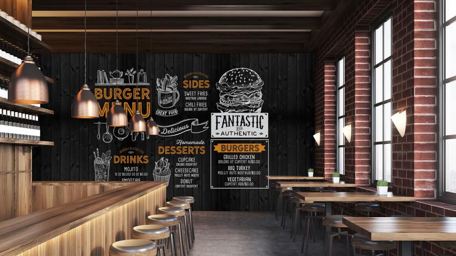 Décoration mur pour commerce restaurant